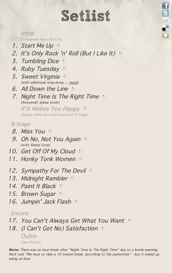 Bob Dylan Tour  Setlist