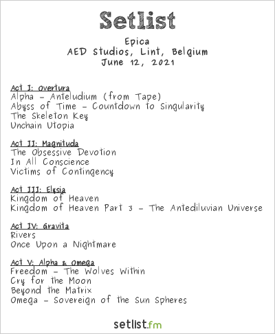 Epica Setlist AED Studios, Lint, Belgium 2021
