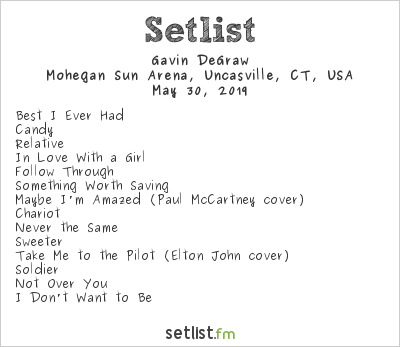Gavin DeGraw Setlist Mohegan Sun Arena, Uncasville, CT, USA 2019