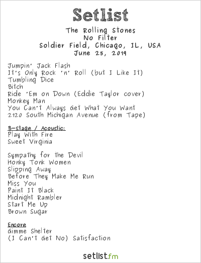 The Rolling Stones Setlist Soldier Field, Chicago, IL, USA 2019, No Filter