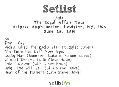 Asia at Tuesday in the Park 2019 Setlist