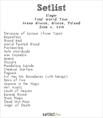 Slayer Setlist Arena Gliwice, Gliwice, Poland 2019, Final World Tour