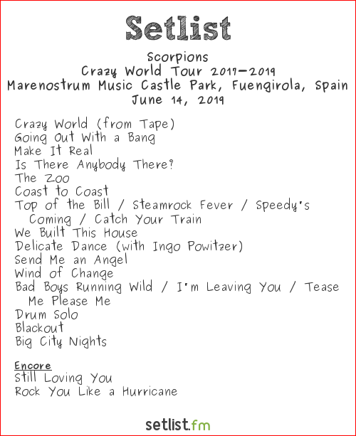 Scorpions Setlist Rock the Coast 2019 2019