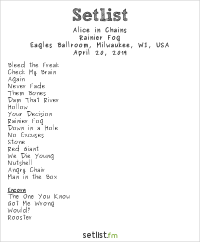 Alice in Chains Setlist Eagles Ballroom, Milwaukee, WI, USA 2019, Rainier Fog