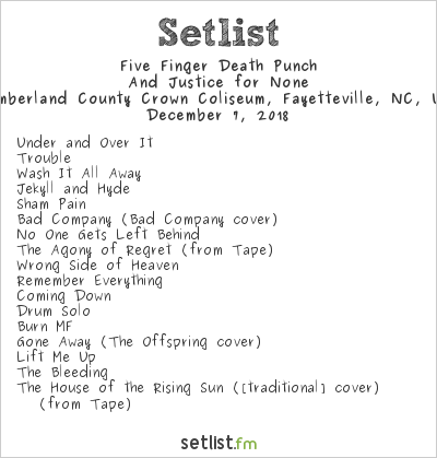Five Finger Death Punch Setlist Cumberland County Crown Coliseum, Fayetteville, NC, USA 2018, And Justice for None