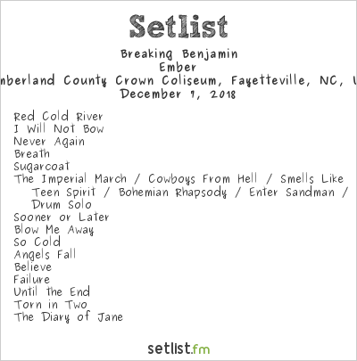 Breaking Benjamin Setlist Cumberland County Crown Coliseum, Fayetteville, NC, USA 2018, Ember