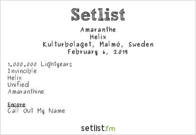 Amaranthe Setlist Kulturbolaget, Malmö, Sweden 2019, Helix