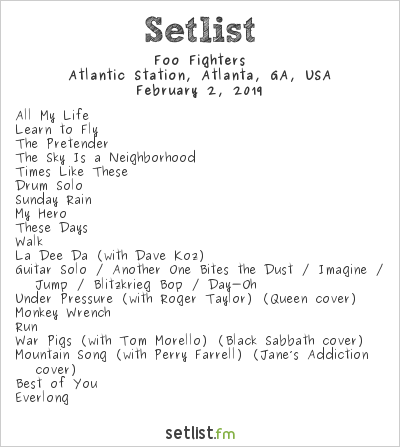 Foo Fighters Setlist Super Saturday Night 2019 2019, 2019 Tour