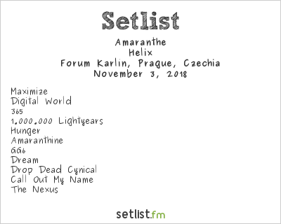 Amaranthe Setlist Forum Karlín, Prague, Czech Republic 2018, Helix