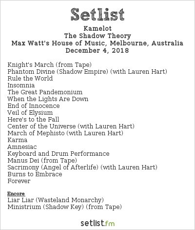 Kamelot Setlist Max Watt's House of Music, Melbourne, Australia 2018, The Shadow Theory