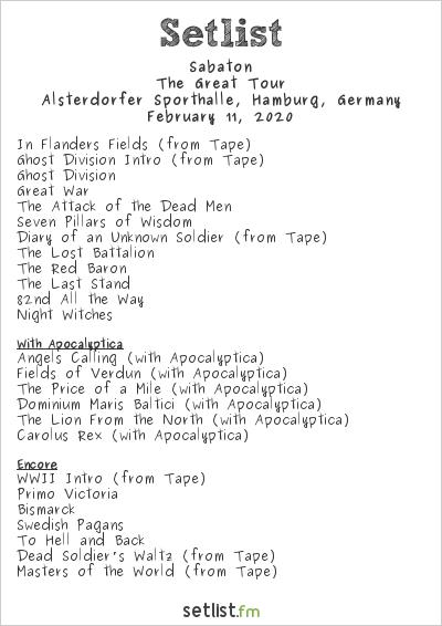 Sabaton Setlist Alsterdorfer Sporthalle, Hamburg, Germany 2020, The Great Tour