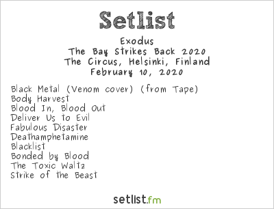 Exodus Setlist The Circus, Helsinki, Finland, The Bay Strikes Back 2020