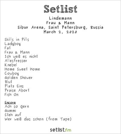 Lindemann Setlist Sibur Arena, Saint-Petersburg, Russia 2020, Frau & Mann