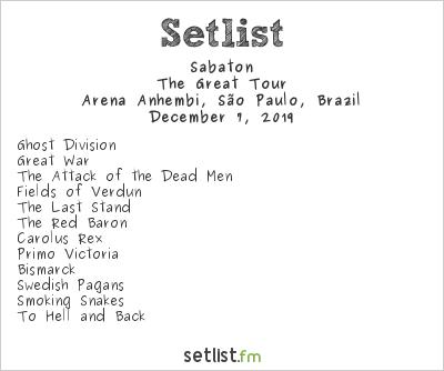 Sabaton Setlist Dream Festival 2019 2019, The Great Tour