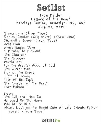 Iron Maiden Setlist Barclays Center, Brooklyn, NY, USA 2019, Legacy of the Beast