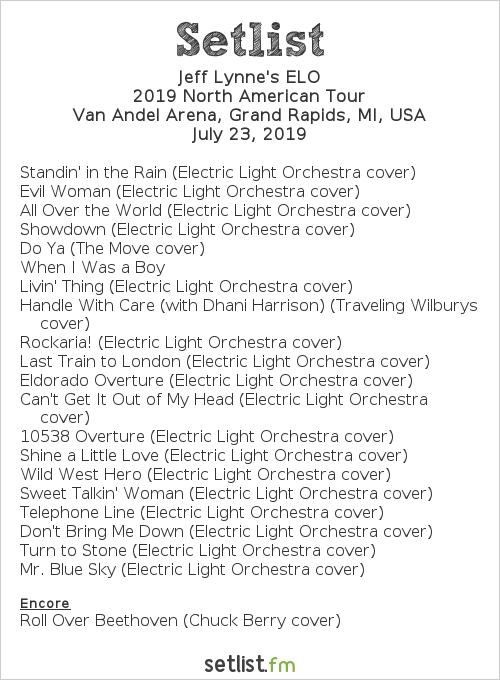 Jeff Lynne's ELO Setlist Van Andel Arena, Grand Rapids, MI, USA 2019, 2019 North American Tour