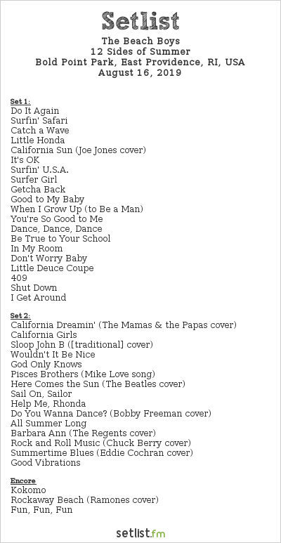 The Beach Boys Setlist Bold Point Park, East Providence, RI, USA 2019, 12 Sides of Summer