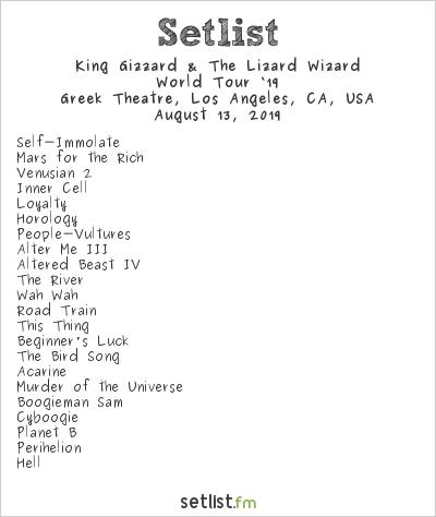 King Gizzard & The Lizard Wizard Setlist Greek Theatre, Los Angeles, CA, USA 2019, World Tour '19