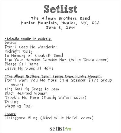 The Allman Brothers Band Setlist Mountain Jam 2014 2014
