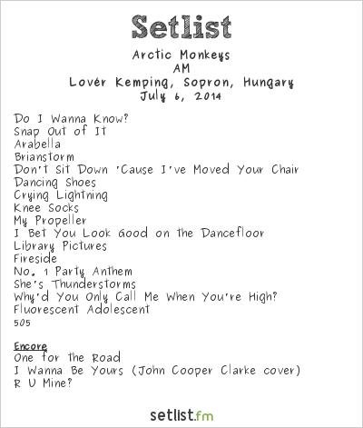 Arctic Monkeys Setlist Volt Fesztivál 2014 2014, AM Tour