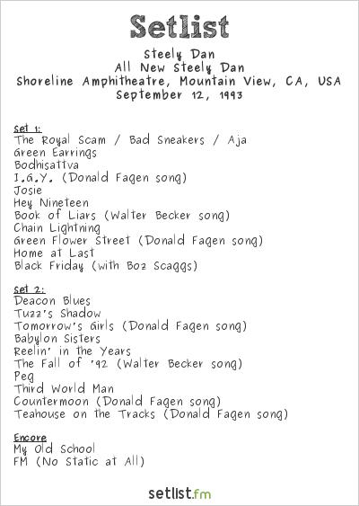 Steely Dan Setlist Shoreline Amphitheatre, Mountain View, CA, USA 1993, All New Steely Dan