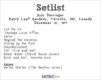 Rick Derringer Setlist Maple Leaf Gardens, Toronto, ON, Canada 1977