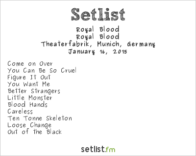 Royal Blood Setlist Theaterfabrik, Munich, Germany 2015, Royal Blood