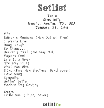 Tesla Setlist Emo's, Austin, TX, USA 2015