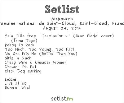 Airbourne Setlist Rock en Seine 2014 2014