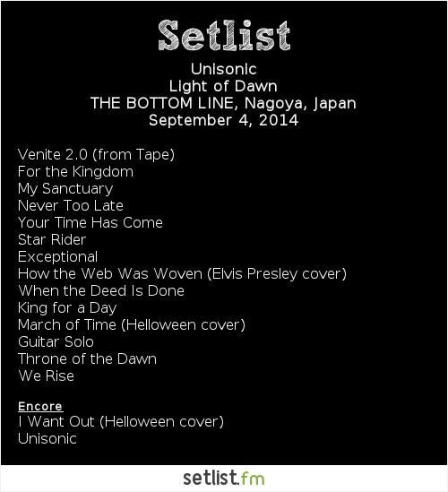Unisonic Setlist Bottom Line, Nagoya, Japan 2014
