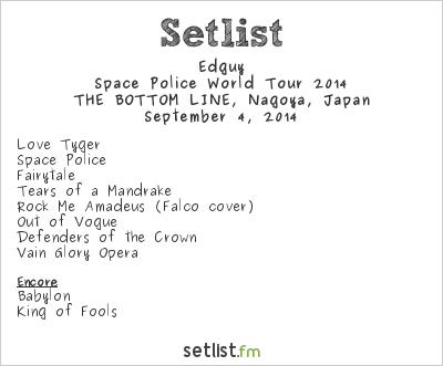 Edguy Setlist Bottom Line, Nagoya, Japan, Space Police World Tour 2014
