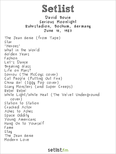 David Bowie Setlist Ruhrstadion, Bochum, Germany 1983, Serious Moonlight