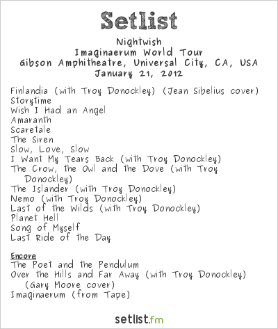 Nightwish Setlist Gibson Amphitheatre, Universal City, CA, USA 2012, Imaginaerum World Tour