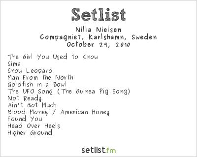 Nilla Nielsen Setlist Compagniet, Karlshamn, Sweden 2010