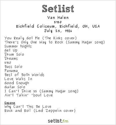 Van Halen Setlist Richfield Coliseum, Richfield, OH, USA 1986, 5150