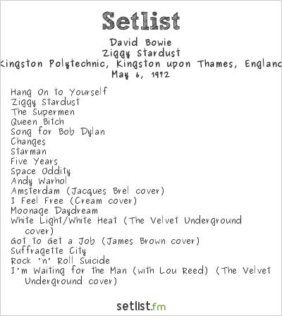 David Bowie Setlist Polytechnic, Kingston upon Thames, England 1972, Ziggy Stardust Tour