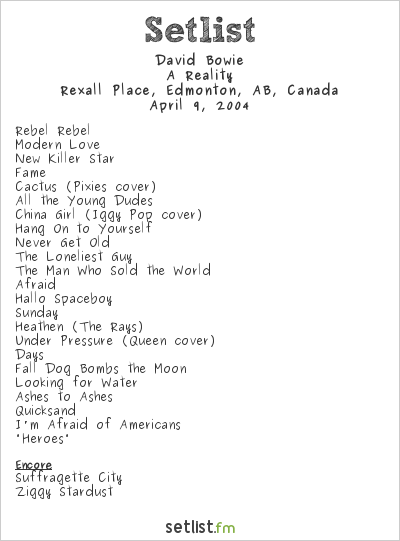 David Bowie Setlist Rexall Place, Edmonton, AB, Canada 2004, A Reality Tour