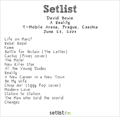 David Bowie Setlist T-Mobile Arena, Prague, Czech Republic 2004, A Reality Tour