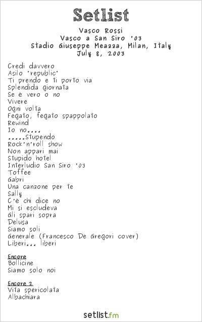 Vasco Rossi Setlist Stadio San Siro, Milan, Italy 2003, Vasco a San Siro '03