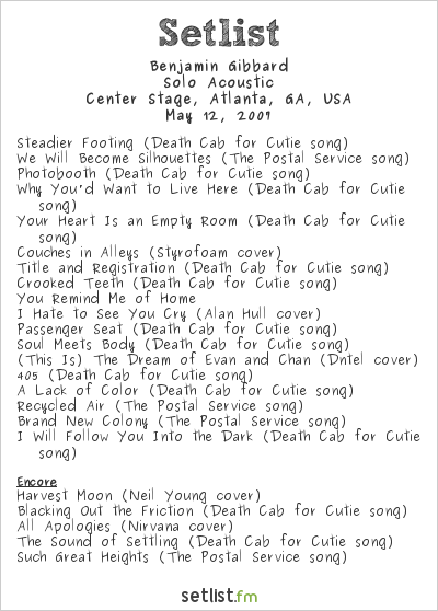 Benjamin Gibbard at Center Stage, Atlanta, GA, USA Setlist