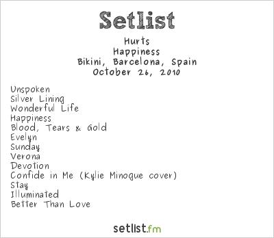 Hurts Setlist Bikini, Barcelona, Spain 2010