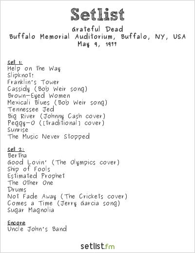 Grateful Dead Setlist Buffalo Memorial Auditorium, Buffalo, NY, USA 1977