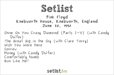 Pink Floyd Setlist The Silver Clef Award Winners Concert 1990 1990