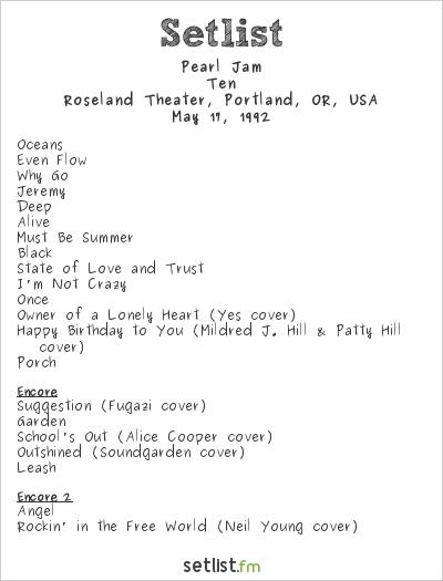 Pearl Jam Setlist Roseland Theater, Portland, OR, USA 1992, Ten