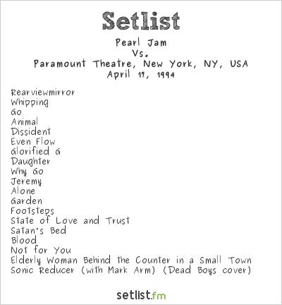 Pearl Jam Setlist Paramount Theatre, New York, NY, USA 1994, Vs.