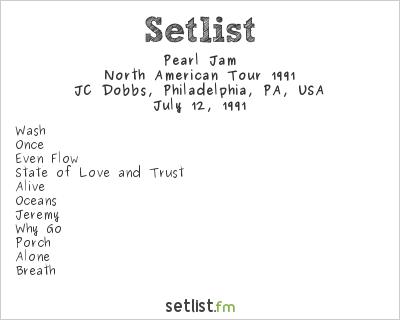 Pearl Jam Setlist JC Dobbs, Philadelphia, PA, USA, North American Tour 1991