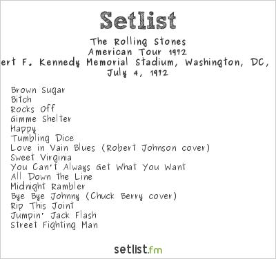 The Rolling Stones at Robert F. Kennedy Memorial Stadium, Washington, DC, USA Setlist