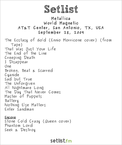 Metallica Setlist AT&T Center, San Antonio, TX, USA 2009, World Magnetic
