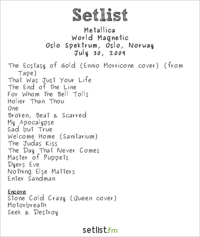 Metallica Setlist Oslo Spektrum, Oslo, Norway 2009, World Magnetic