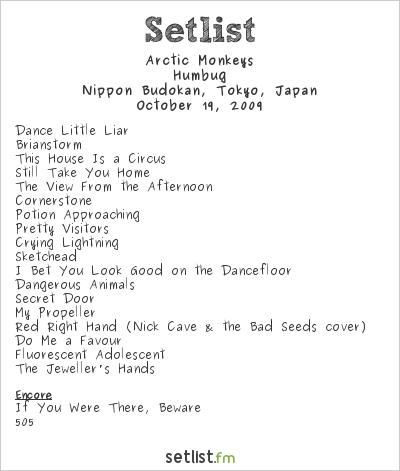 Arctic Monkeys Setlist Nippon Budokan, Tokyo, Japan 2009, world tour